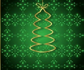 Green christmas background with golden xmas tree vectors