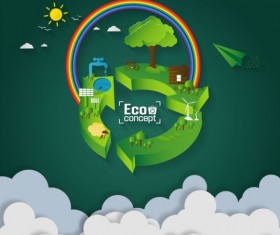 Green eco earth with paper cloud vector template 01