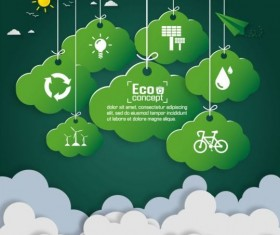 Green eco earth with paper cloud vector template 02