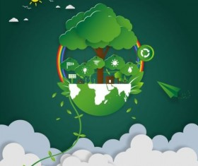 Green eco earth with paper cloud vector template 03