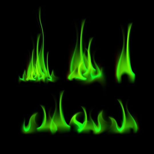 Green fire flame vector set 02