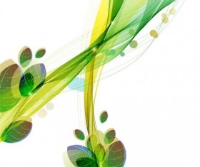Green leaves with abstract wave background 01
