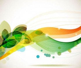Green leaves with abstract wave background 02