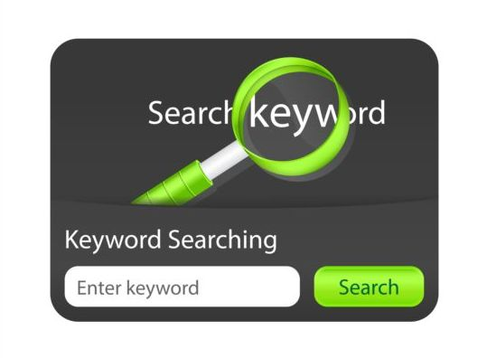 Green with black keyword searching interface vector