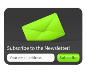 Green with black subscribe to the newsletter interface vector