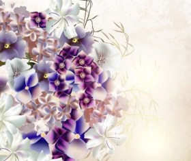 Grunge background with purple flowers vintage vector