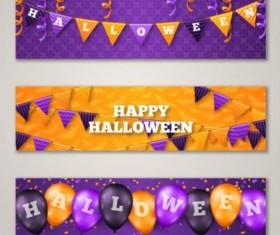 Halloween banner yellow with purple vector