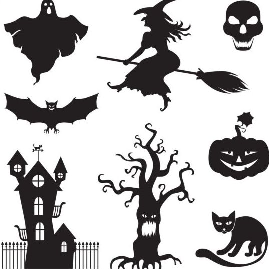 Halloween silhouette with witches vector - Vector Halloween ...
