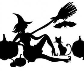 Halloween witch with pumpkin silhouette vector