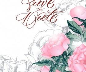 Hand drawn pink flower background vector 02