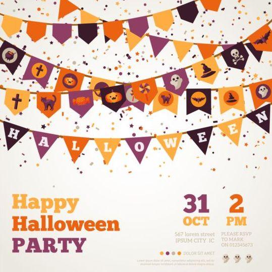 Happy halloween flag poster vector - Vector Halloween free download