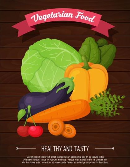 Healthy and tasty vagetables poster vector 01