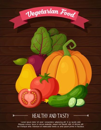 Healthy and tasty vagetables poster vector 02