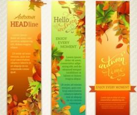 Hello autumn vector vertical banners 02