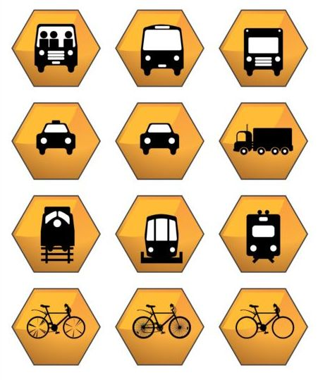 Hex transportation icons yellow vector