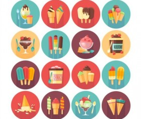 Ice cream shadow icons set