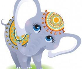 Indian elephant cartoon vector