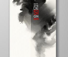 Ink paint cover brochures vector 02