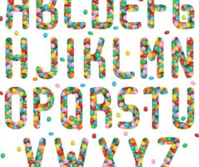 Jelly beans alphabet vector