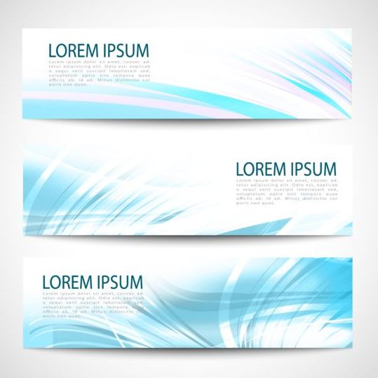 Linght blue wave banners design vector 01
