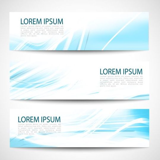Linght blue wave banners design vector 05