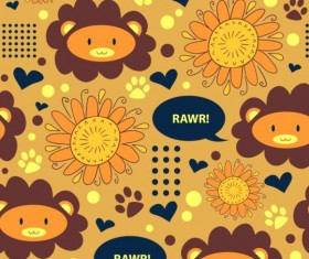 Lions and sunflowers seamless pattern cartoon vector