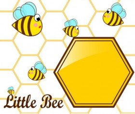 Little bee with honeycomb vector illustration 01
