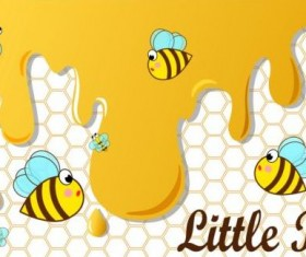 Little bee with honeycomb vector illustration 02