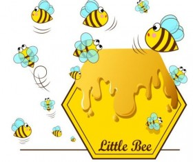 Little bee with honeycomb vector illustration 03