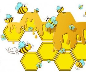 Little bee with honeycomb vector illustration 04