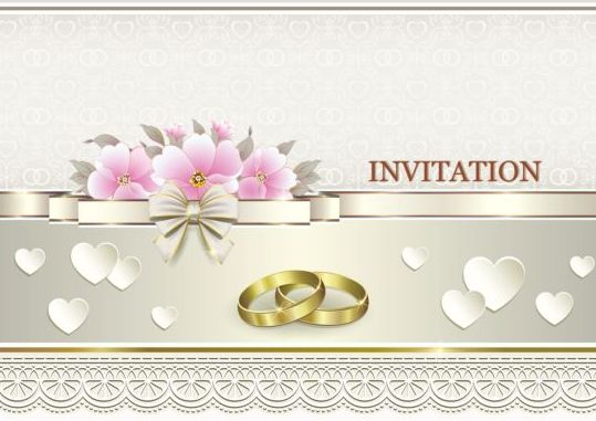 Luxury wedding invitation card with golod ring vector 05