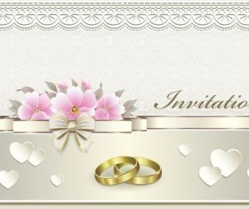 Luxury wedding invitation card with golod ring vector 06