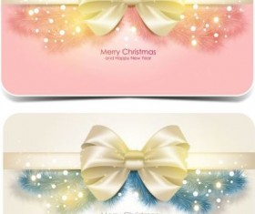 Merry christmas card with bow shiny vector 01