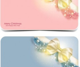 Merry christmas card with bow shiny vector 02