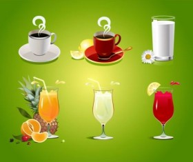 Milk with tea and juice drank vector