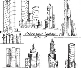 Modern Sketch Buildings Vector