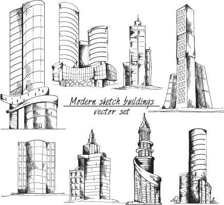 Modern Sketch Buildings Vector