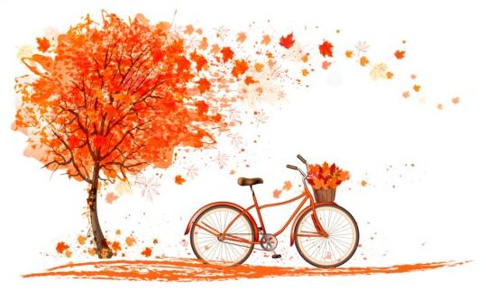 nature autumn background with red trees and bike vector 02