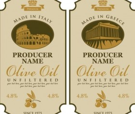 Olive oil vintage label sticker vector 02