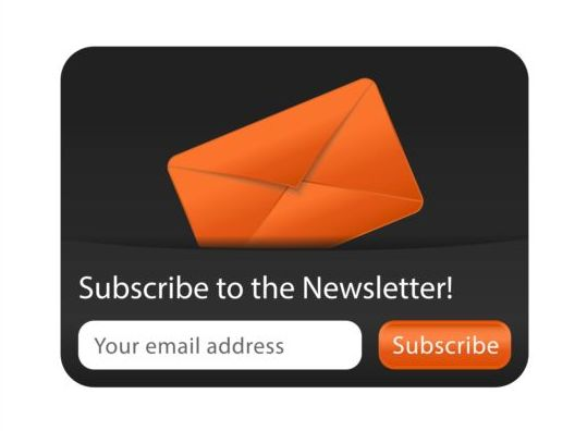 Orange with black subscribe newsletter vector