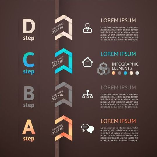Origami Infographics elements brown vector template 01