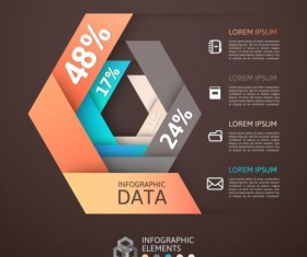 Origami Infographics elements brown vector template 02