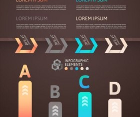 Origami Infographics elements brown vector template 03