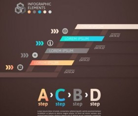 Origami Infographics elements brown vector template 04
