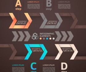 Origami Infographics elements brown vector template 05