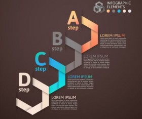 Origami Infographics elements brown vector template 06