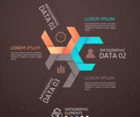 Origami Infographics elements brown vector template 08