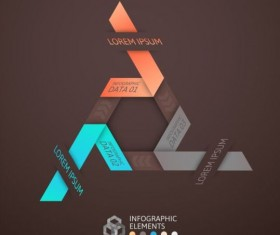 Origami Infographics elements brown vector template 09