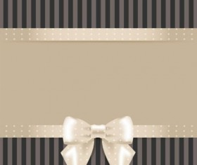 Ornate beige bow vector card