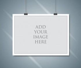 Paper mockup hanging with paper clip vectors 04